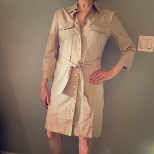 Tory Burch Tan Belted Shirtdress with Gold Buttons
